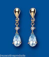 Blue Topaz Earrings Natural Blue Topaz Pear drop Earrings Yellow Gold Earrings