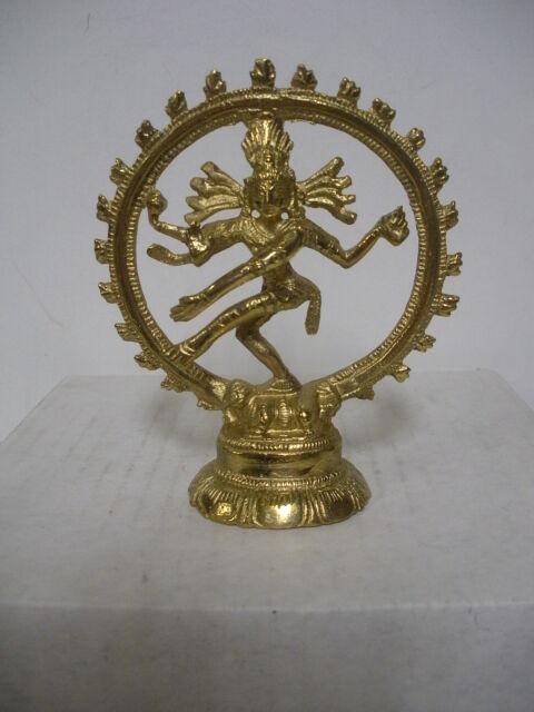 "Shiva Nataraj Gold Brass Statue - 4"""