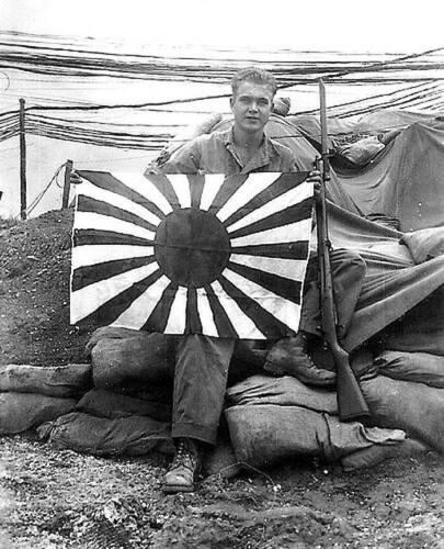1036 WWII B/&W Photo US Marine Okinawa Flag  WW2  World War Two USMC World War