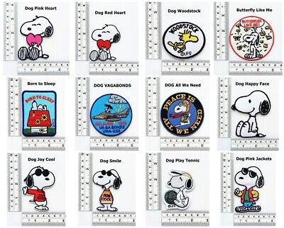 4PCS Snoopy Dog Peace Love The Earth Cartoon TV Craft Patch Iron on Jacket Polo