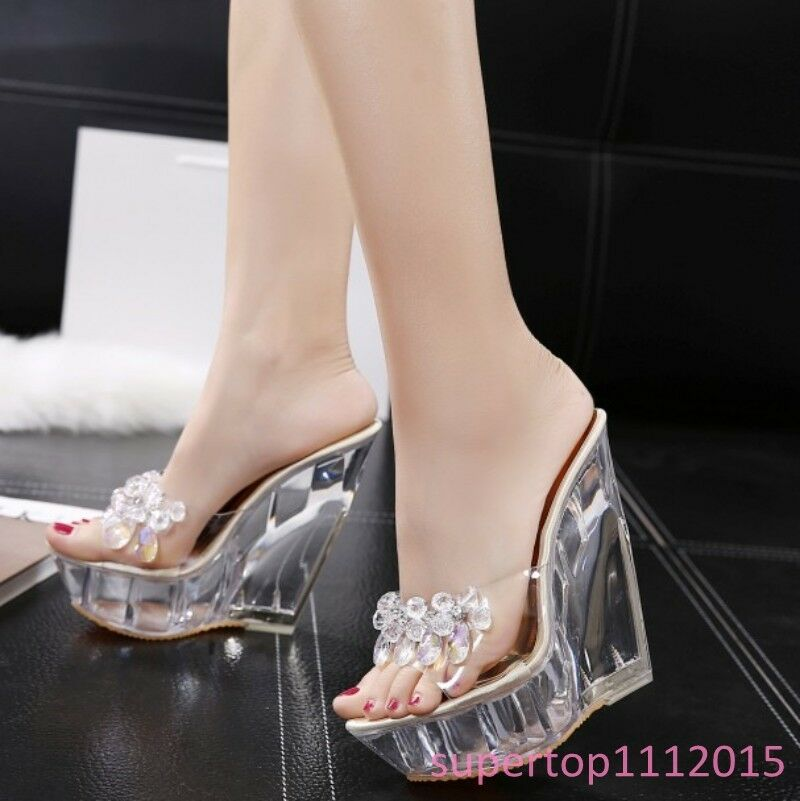 Womens Transparent Wedge Heels Platform Rhinestones Slippers Sweet Elegant shoes