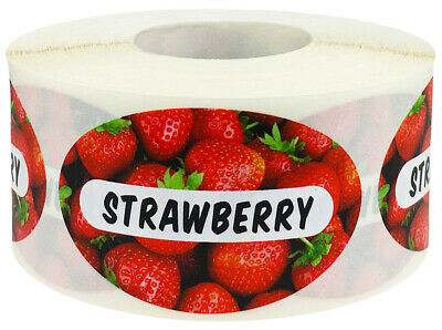 500 Labels Total Strawberry Rhubarb Grocery Food Stickers 1.25 x 2 Inches