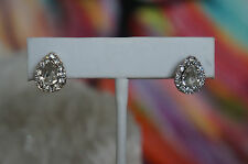 "NEW Erickson Beamon Rocks Heart of Glass .5"" Teardrop Stud Crystal Earrings"