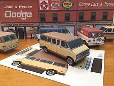 Papercraft DODGE SPORTSMAN brown VAN 1974-1977 PaperCar E Z U-build ToyModelCar