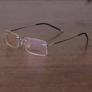0c7abfe933 Image is loading Titanium-Eyeglass-Frames-Men-Rimless-Spectacle-Frame- Eyewear-
