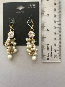 Details about DROP DANGLE FAUX PEARL EARRINGS WITH RHINESTONE GOLD TONE  TARGET BRAND 2 75