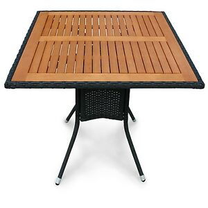 gartentisch balkontisch aus polyrattan tischplatte holz quadratisch ebay. Black Bedroom Furniture Sets. Home Design Ideas