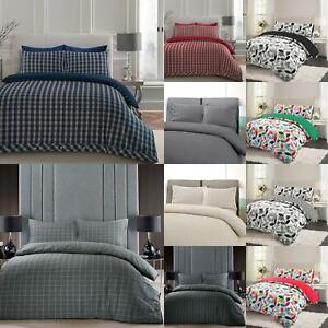Flannel-100-Brushed-Cotton-Duvet-Cover-Bedding-Set-Single-Double-Super-King