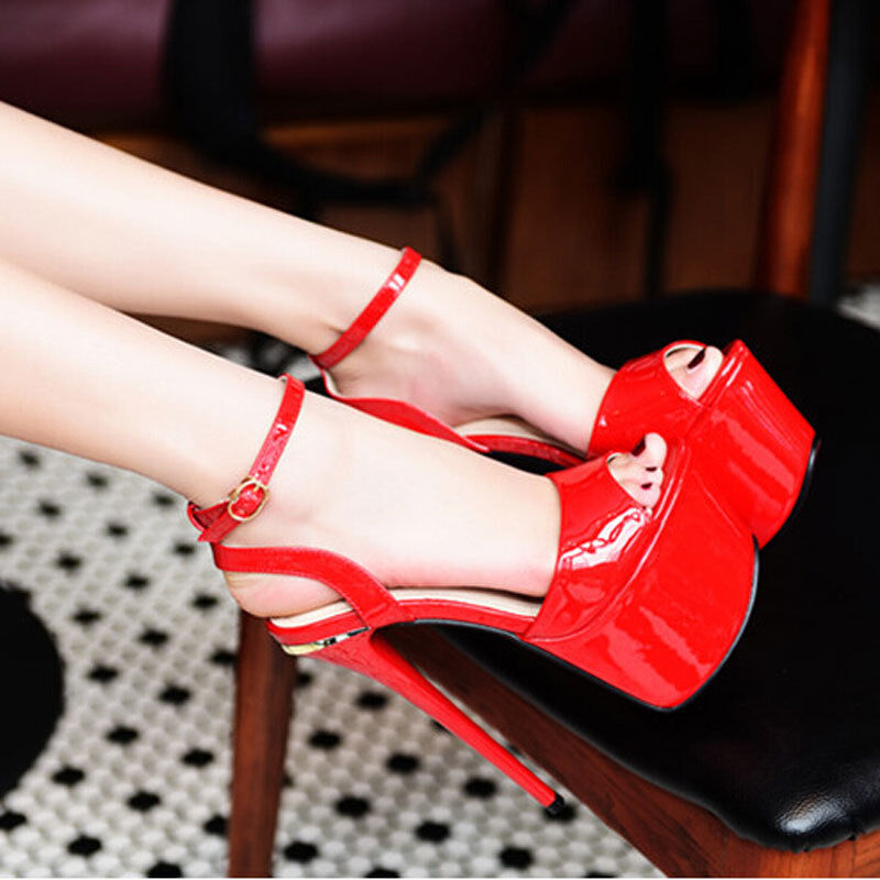 NEW Heels Sandals patent leather buckles Sexy 17cm high Donna Open toe Platform