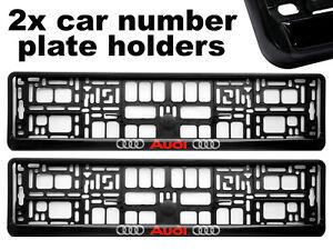 2-x-Doming-CAR-Number-Plate-Surround-Holder-Frames-BEST-FIT-for-AUDI