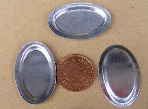 1-12-Scale-3-Medium-Oval-Metal-Tin-Tray-039-s-Dolls-House-Miniature-Food-Accessory-M