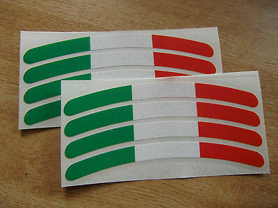 Italian flag - Wheel rim decals - set of 8 - 150mm x 12mm approx