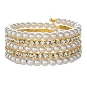 Women-Pearl-Crystal-Rhinestone-Stretch-Bracelet-Bangle-Wristband-Wedding-Jewelry