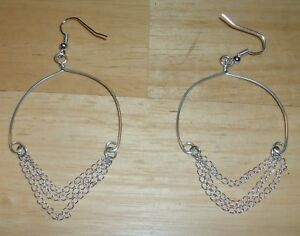 Details About Sterling Silver Free Form Handmade Wire Earrings With 3 Chains 343