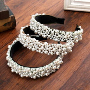 Fashion Women Girl/'s Pearl Hairband Headband Crystal Hair Hoop Hair Accessories