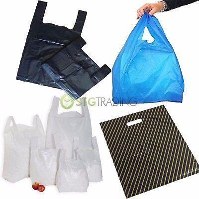 "100 Plastic Bags Lot Shopping Gift 13/"" x 9/"" 33cm Blue"