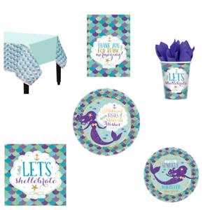 Mermaid Parti sur le thème de la VAISSELLE-Assiettes Tasses Serviettes Tablecover Loot Sacs Cadeau
