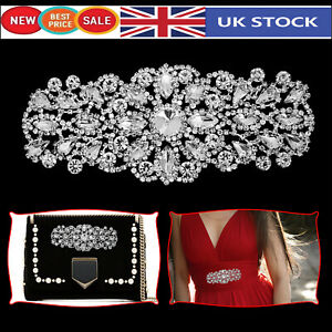 Diamante-Motif-Applique-Rhinestone-Sew-on-Wedding-Silver-Crystal-60mm-x-50mm