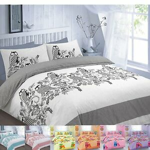 New-Design-Owls-Duvet-Cover-Reversible-Bedding-Set-With-Pillow-Cases