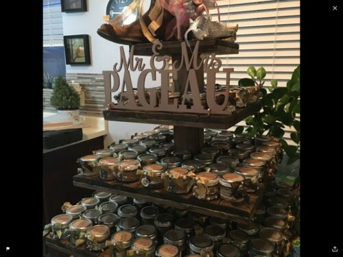 4 Tiers Wedding Party Wooden Rustic Cupcake Donut Stand Tower Holder