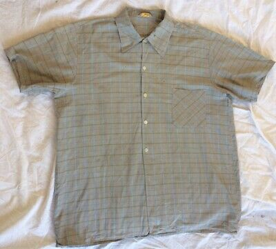 Aggressivo Vintage Da Uomo 1950s Con Motivo Check Cotone Estate Camicia-mostra Il Titolo Originale Prezzo Moderato