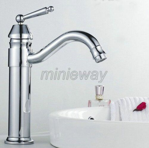 Polished Chrome Brass Kitchen Sink Faucet One Hole Swivel Basin Mixer Tap mnf208