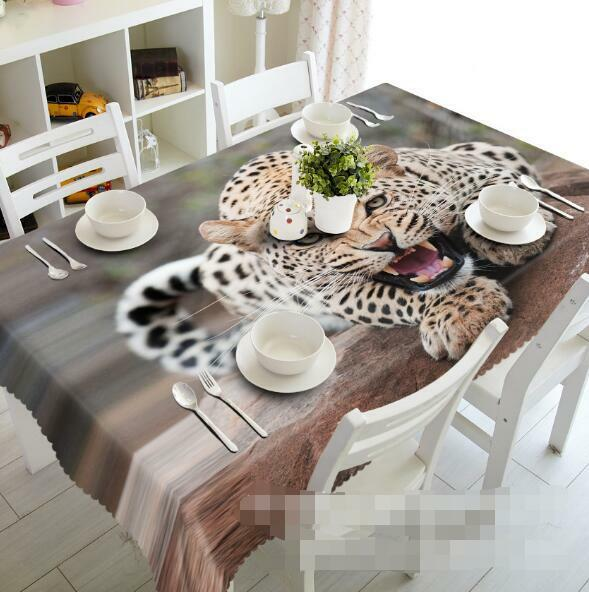 3D Leopard 100 Tablecloth Table Cover Cloth Birthday Party Event AJ WALLPAPER