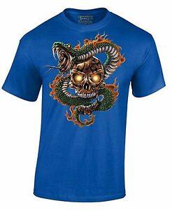 Sugar-Skull-and-Snake-Day-Of-Dead-Halloween-Dia-De-Los-Muertos-Men-039-s-Shirt-Tee