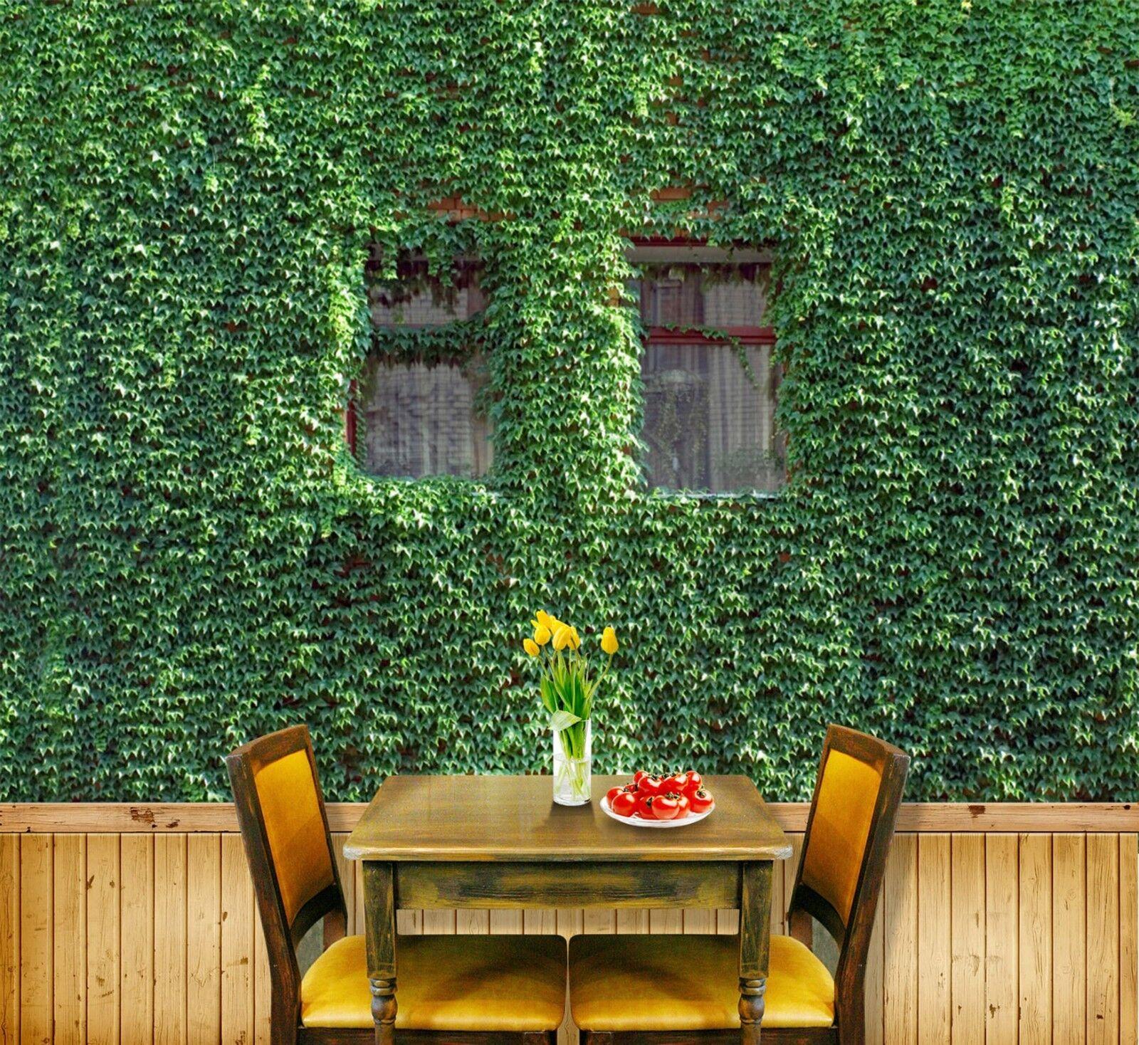 3D Grünes Blatt Fenster 9067 Tapete Wandgemälde Tapeten Bild Familie DE Lemon