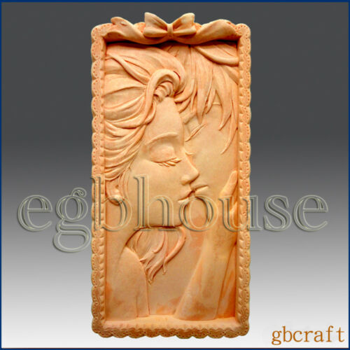 Romantic Kissing Couple plaster mold 2D Silicone Soap Mold egbhouse