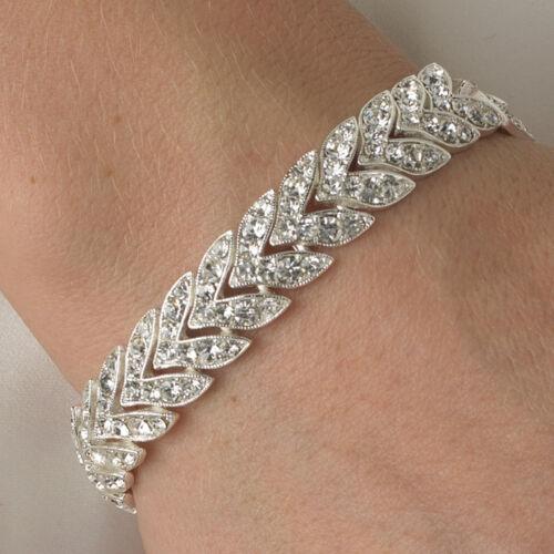 BRIDAL WEDDING BRACELET Silver Clear CZ RHINESTONE Chevron Tennis Line