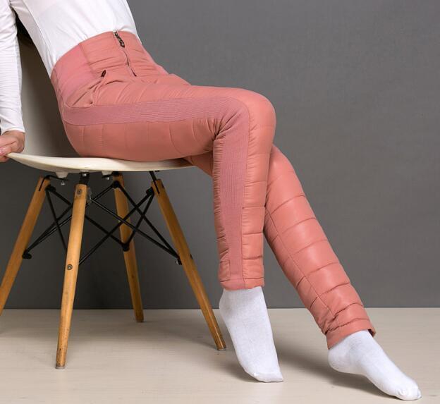Womens Cotton Down Warmer Pants Winter Outdoor Ultralight Long Trousers Casual
