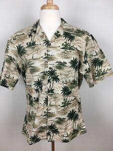Vintage-Hawaii-Brand-Mens-Aloha-Hawaiian-Shirt-Size-Large-100-Cotton-Palm-Trees