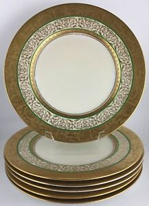 Image is loading Hutschenreuther-Royal-Bavarian-set-of-6-gold-encrusted- & Hutschenreuther Royal Bavarian set of 6 gold encrusted dinner plates ...