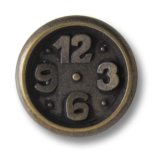 0285am 5 ulkige altmessingfarbene Ösen Metallknöpfe mit Uhr Motiv
