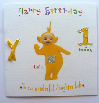 Personalised Hand made 6in square Teletubbies La La Birthday card any age