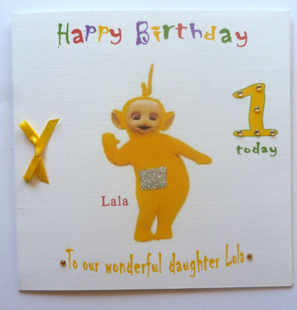 Personalised Hand Made 6in Square Teletubbies La La Birthday Card
