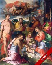 THE NATIVITY BIRTH OF JESUS CRHIST BY VAGA PAINTING ART REAL CANVAS GICLEEPRINT