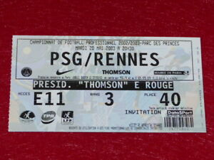 COLLECTION-SPORT-FOOTBALL-TICKET-PSG-RENNES-20-MAI-2003-Champ-France