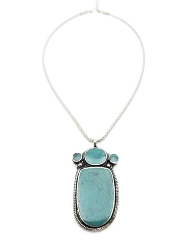 Silver Plated Resin Turquoise Pendant Necklace