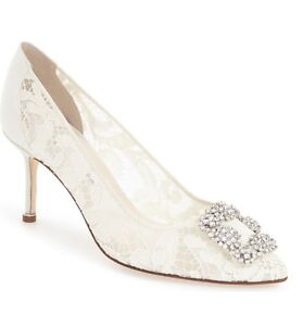 2baffaf68a9  1035 NEW MANOLO BLAHNIK HANGISI 70 Lace Crystal Pump Wedding Shoes ...