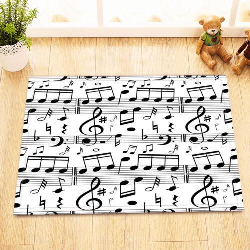 musical note Fabric Bathroom Waterproof Shower Curtain 12 Hooks /& Bath Mat 8500