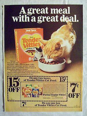 1977 Magazine Advertisement Page Purina Tender Vittles Beef Cat Food Vintage Ad Ebay