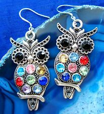 Ohrhänger Ohrring Eule owl 26 mit bunten Kristallen Haken aus Silber 925