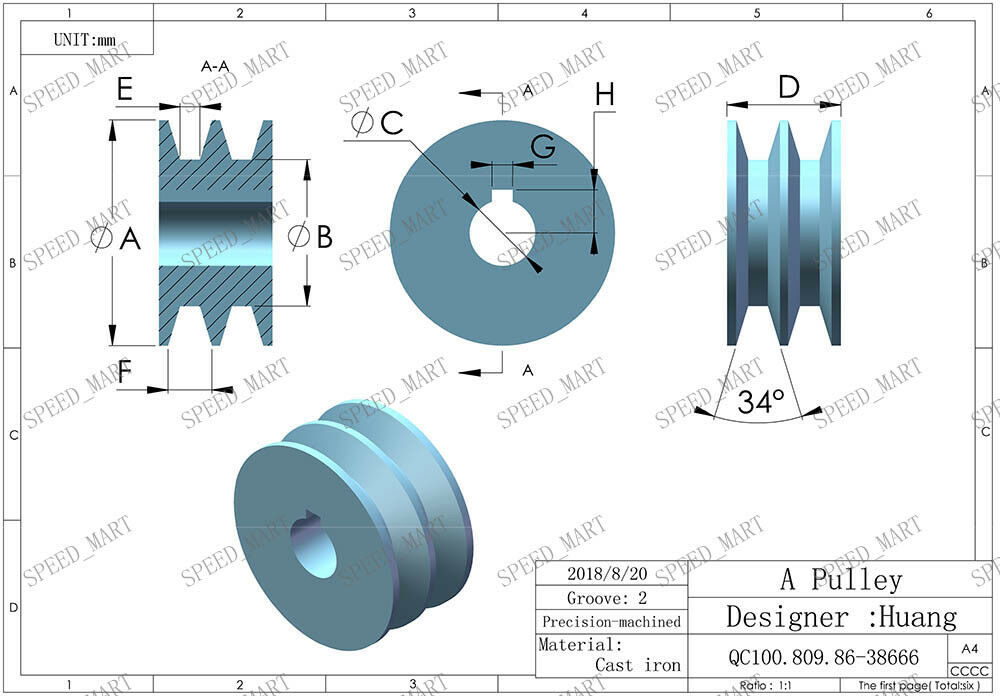 2 PCS A Type Pulley Double V Groove Bore 24mm OD 70mm for A Belt Motor