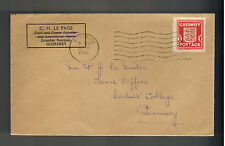 1945 Guernsey Channel Island England Occupation Cover Postwar use CH Le Page