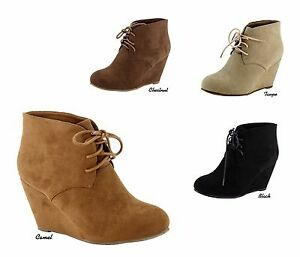 NEW-Women-Micro-Suede-Chukka-Style-Lace-Up-Wedge-Heel-Ankle-Boots-Bootie