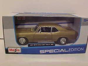1970-Chevy-Nova-SS-396-Coupe-Die-cast-Car-1-24-Maisto-8-inch-Gold