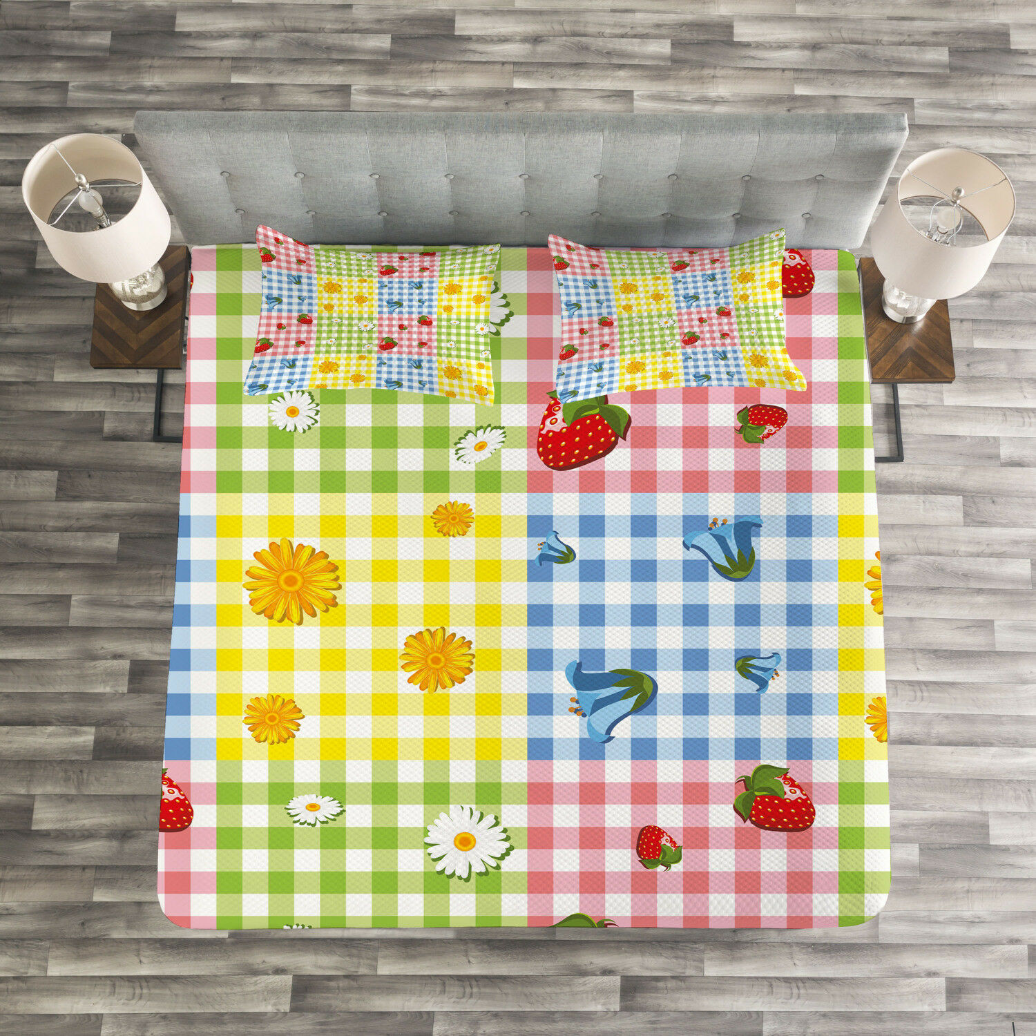 colorful Quilted Bedspread & Pillow Shams Set, Berries Flowers Picnic Print