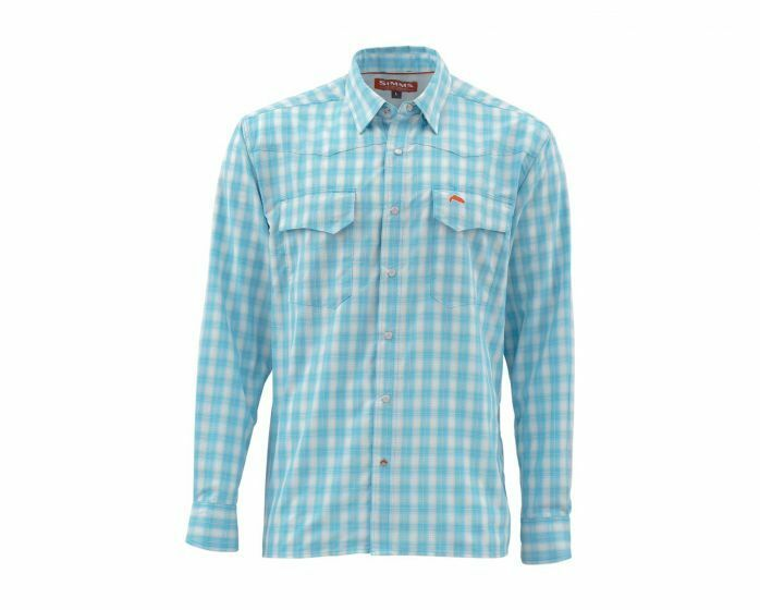 Simms Big Sky Long Sleeve Shirt-Sea bluee Plaid - Size Large - Closeout